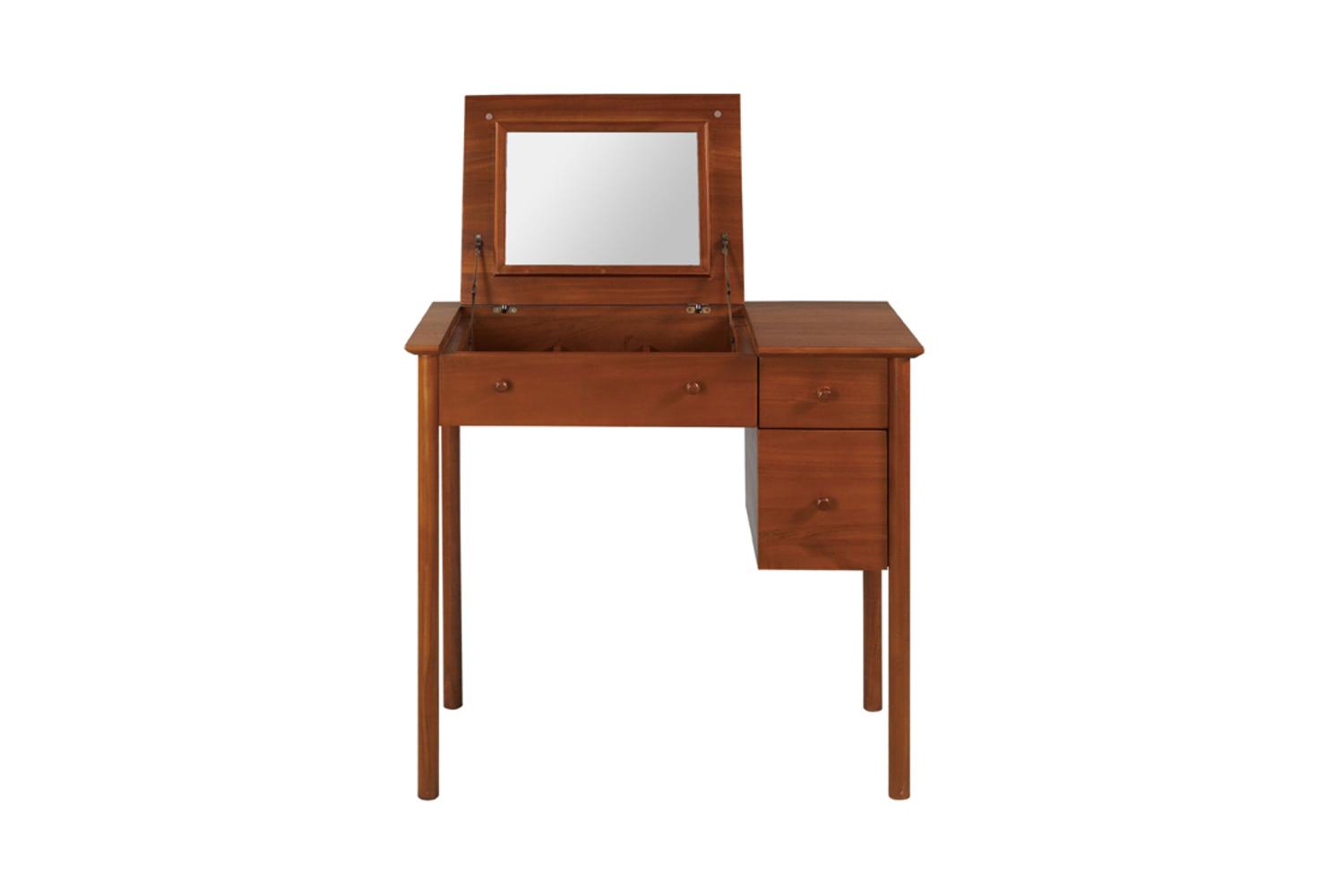 木紋色的梳妝台;